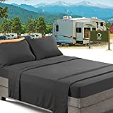 RV/Short Queen Bed Sheets Set Bedding Sheets Set for Campers, 4-Piece Bed Set, Deep Pockets Fitted Sheet, 100% Luxury Soft Microfiber, Hypoallergenic, Cool & Breathable, Gray