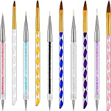 10 Pieces Nail Art Pens Kit Include Liner Brushes and Gel Painting Dotting Acrylic Nail Brush Pens (Style Set 1)