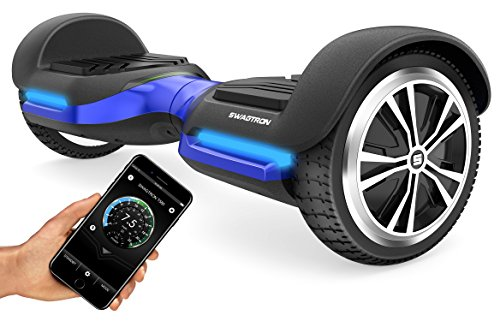 Swagtron Swagboard Vibe T580 App-Enabled Bluetooth Hoverboard w/Speaker Smart Self-Balancing Wheel – Available on iPhone & Android (Blue)