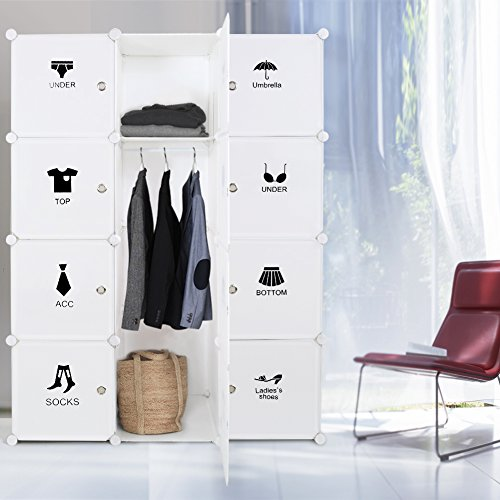 Wardrobe Portable DIY Modular Cube Shelving System Storage Organizer With Hanging Rod And Door Stickers Larger Space Thicker Board Sturdy Construction