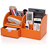 KINGFOM Multi-Function Home Office Supplies Leather Desk Organizer 6 Compartment Storage Box Collection with Drawer (Orange)