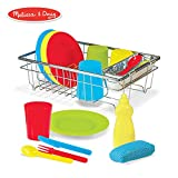 """Melissa & Doug Let's Play House! Wash & Dry Dish Set, 4 Place Settings, Use with Kitchen Set or Stand-Alone, 24 Pieces, 4"""" H x 11.5"""" W x 8.5"""" L"""