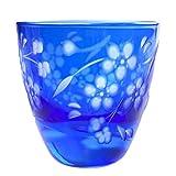 Sakura Cherry Blossoms Design Guinomi Sake Cup 2.5oz Shot Glass Edo Kiriko Design Cut Glass - Blue [Japanese Crafts Sakura]