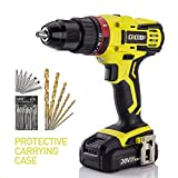 CACOOP 20V Hammer Drill/Driver set, two-Speed, ½ inch All-Metal Chuck, Included one pc 2.0Ah Li-Ion battery,one rapid charger, wood drill bits, screwdriver Bits and Magnetic Bit Holder (Hammerdrill)