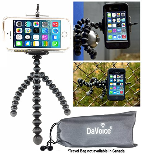 DaVoice Flexible Tripod Compatible with iPhone 7 6s 6 5s 5c 5 4s 4 SE 8 X XS XR Galaxy S9 S8 S7 S6 S5 - Bendy Tripod - Cellphone Tripod Adapter - Travel Bag - Mini Lightweight Bendable (Gray/Black)