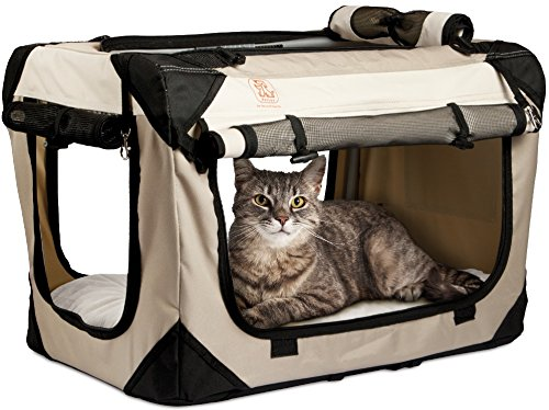 PetLuv Happy Pet Cat & Dog Crate & Carrier Premium Soft Sided Foldable Top & Side Loading Pet Carrier Locking Zippers Shoulder Straps Seat Belt Lock Nap Pillow Reduces Anxiety 1