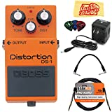 Boss DS-1 Distortion Bundle with Power Supply, Instrument Cable, Patch Cable, Picks, and Austin Bazaar Polishing Cloth