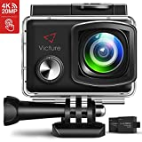 Victure 4K Action Camera 20MP WiFi 2' Touch Screen Camcorder EIS Waterproof 30M Underwater Sports Cam with Adjustable Wide Angle 2X1350mAh Rechargeable Battery and Mounting Accessories