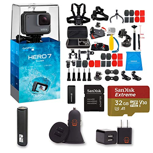 GoPro Hero 7 Silver Action Camera + 47 Piece Accessory Kit + 32gb Extreme Micro SD + Card Reader + PowerBank + Dual USB Wall and Car Adapter EZEE Bundle