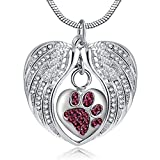 Unisex Angel Wing Memorial Keepsake Ashes Urn Pendant Necklace,I Used To Be His Angel Now He's Mine (Pet)