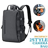IDAND Camera Backpack DSLR/SLR Camera Bag Multifunction Travel Outdoor Waterproof Tablet 15.6 inch Laptop Bag for Sony Canon Nikon Black