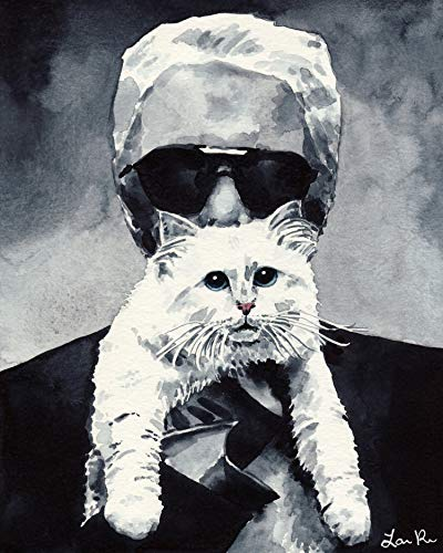 Choupette Cat and Karl Lagerfeld Fashion Art Print of Watercolor Painting