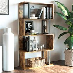 IRONCK Bookcase and Bookshelf 4 Tier Display Shelf, S-Shaped Z-Shelf Bookshelves, Freestanding Multifunctional Decorative Storage Shelving for Home Office, Vintage Brown Industrial Style