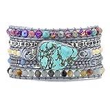Starto Leather 5 Wrap Bracelet Hand Braided Turquoises Druzy Crystal Mix Bead Bracelet Boho Cuff Jewelry