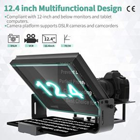 Large-Portable-12-inch-teleprompters-Suitable-for-DSLR-and-camcorders-Optical-Splitter-Glass-and-Good-for-Tablets-and-Smartphones-Video-Making-Tools-Aluminum-Body-with-a-Bag-No-Assembly-Required