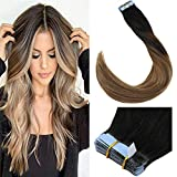 LaaVoo 14 inch Balayage Tape in Human Hair Extensions Colorful Off Black Fading to Ash Brown with Light Golden Brown Straight Remy Human Hair Tape on Double Sided 20 Pcs 50g/Package