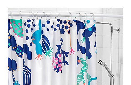 Lasjon IKEA Shower Curtain Waterproof/Water-Repellent - 71x71, Blue/White
