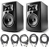 JBL 305P MkII 5' Studio Monitoring Speakers (Pair) w/ 5 Essential AxcessAbles Studio Cables for Recording Studio