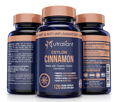 ORGANIC CEYLON CINNAMON CAPSULES - Super Antioxidant & Anti-Inflammatory Supplement for Healthy Blood Sugar, BP, Joint Support, Brain & Cardiovascular Health - 1200mg True Sri Lanka Cinnamon 120 Pills