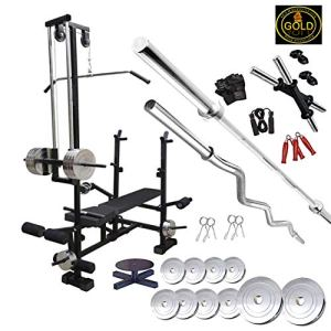 GOLD FITNESS 20 in 1 Bench with 50 Kg Steel Home Gym equipments and Home Gym Set