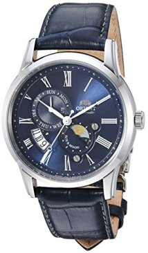 Orient Men's Sun and Moon Version 3 Stainless Steel Japanese-Automatic Watch with Leather Calfskin Strap, Blue, 20 (Model: FAK00005D0)