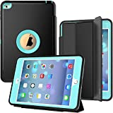 iPad Mini 4 Case, SEYMAC Three Layer Drop Protection Rugged Protective Heavy Duty iPad Mini Stand Case with Magnetic Smart Auto Wake/Sleep Cover for iPad Mini 4th Generation (Black/Light Blue)