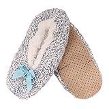 Adult Women's Super Soft Warm Cozy Fuzzy Furry Slippers Non-Slip Lined Socks, Blue, Medium, 1 Pair