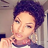 VRZ Fashion Hairstyles Layered Brazilian Short human hair Tight Curly Fluffy Wig Full Density Medium Cap Size 1B color (SC)