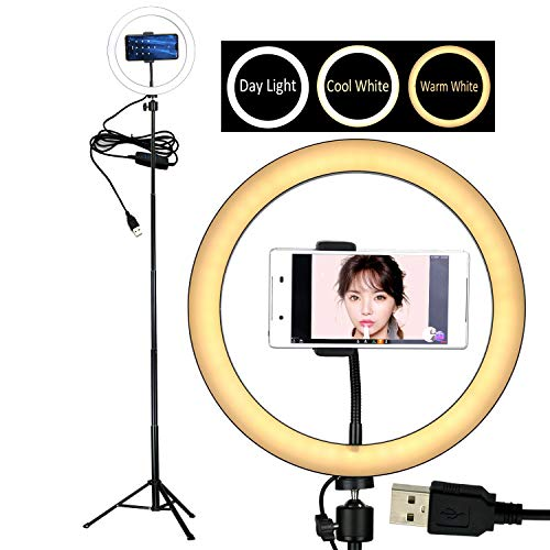 10' Selfie LED Ring Light with Tripod Stand &Cell Phone Holder Desktop Lamp Mini Led Camera Light for YouTube Video and Live Makeup/Photography