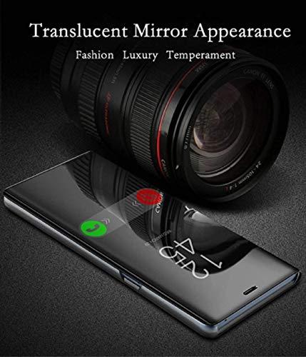 Explocart Mirror Semi View Protective Electroplate Stand Flip Cover for Xiaomi Redmi Note 7 - Black 5