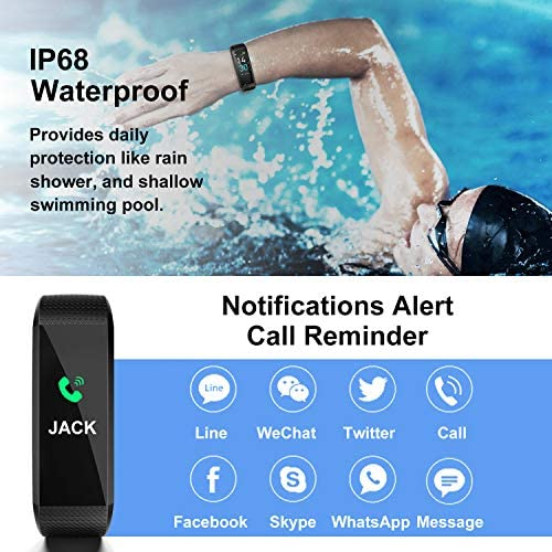 [2020 New Version] Fitness Tracker, Activity Tracker Watch with Heart Rate Monitor, Message Notification,IP68 Waterproof Calorie Counter, Pedometer Watch with Connected GPS for Android & iPhone 4