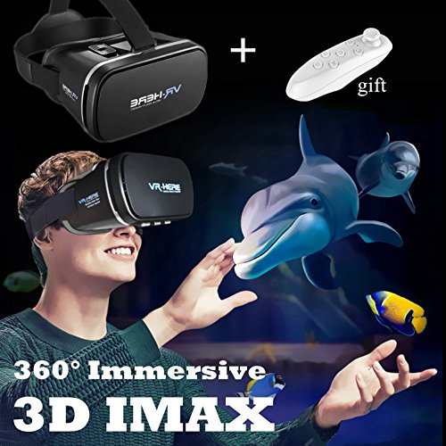 "TSANGLIGHT 3D VR Headset with Remote New Virtual Reality Goggles, VR Glasses Movie Video Game Viewer for iPhone & Android 4.0-6.0"" Smartphones Like iPhone X 8 7 6 Plus Samsung S8 S7 S6 Edge, Black"