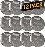 12 Pack AmVolt CR2032 Battery 220mAh 3 Volt Lithium Battery Coin Button Cell 2023 Expiry Date