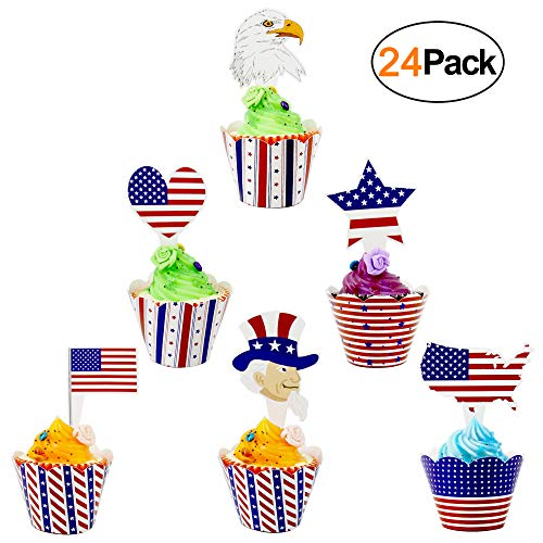 4th of July Party Supplies Cupcake Toppers and Wrappers 24 Pack Red White Blue Patriotic Cupcake Decorations for Memorial Day Party
