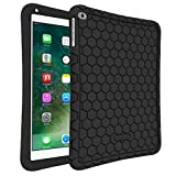 Fintie iPad 9.7 2018 2017 / iPad Air 2 / iPad Air Case - [Honey Comb Series] Light Weight Anti Slip Kids Friendly Shock Proof Silicone Protective Cover for iPad 6th / 5th Gen, iPad Air 1 2, Black