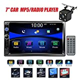 Regetek Car Stereo Double Din 7' Touchscreen in Dash Stereo Car Audio Video Player Bluetooth FM AM Radio Mp3 /TF/USB/AUX-in/Subwoofer/Steering Wheel Controls + Remote Control+Rear View Camera