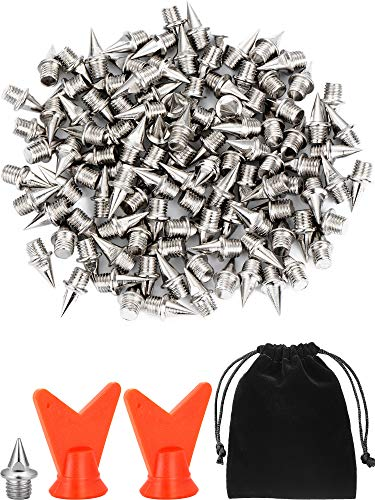 Jovitec 120 Pieces 1/4 Inch Steel Spikes Shoe Spikes Replacement with 2 Pieces Spike Wrench for Track and Cross Country