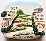 Lombard St.San Francisco USA High Quality Resin 3D fridge Refrigerator Thai Magnet Hand Made Craft.