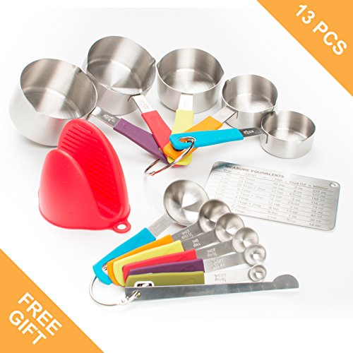 Measuring Cups and Spoon Set by My Legacy Kitchen Collection – 13 pcs Stainless Steel Baking Measurement Utensils With Nonslip Silicone Handles – Weigh Liquid & Dry Ingredients – Oven Mitt Included