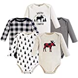 Hudson Baby Unisex Baby Long Sleeve Cotton Bodysuits, Moose Long Sleeve 5 Pack, 3-6 Months (6M)