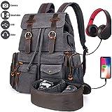 Camera Backpack, P.KU.VDSL Canvas DSLR SLR Camera Case Bag, Travel Laptop Backpack with USB Charging Port Headphone Jack, Waterproof Shoulder Photographer Rucksack for Sony Canon Nikon