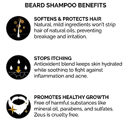 ZEUS Beard Shampoo and Wash for Men - 8oz - Beard Wash with Natural Ingredients (Scent: Verbena Lime)  Image 5