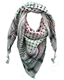 Hirbawi Kufiya Original Men's Arab Scarf One Size Black, Red and Green on White