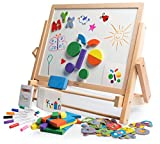 Double-Sided Tabletop Art Easel 80pc Activity Set for Kids - Magnetic Whiteboard & Chalkboard w/Dry Erase Markers, Alphabet Phonic Letters, and Shapes