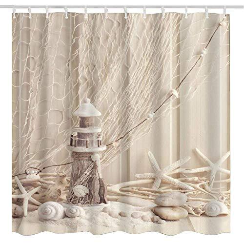BROSHAN Nautical Seashell Decor Shower Curtain Fabric, Coastal Sea Shell Fishing Net Marine Ocean Beach Theme Lighthouse Bath Curtain Starfish Fabric Bathroom Accessories Set with Hooks,72 x 72 Inch
