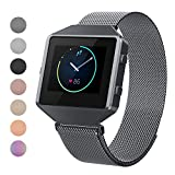 CRODI Compatible Fitbit Blaze Bands New Full Metal Frame, Stainless Steel Magne Replacement Band Fit bit Blaze Women Men(Large Size,Grey)