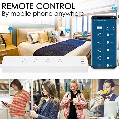 WiFi-Smart-Power-Strip-Socket-AISIRER-Surge-Protector-Outlet-4-USB-Charging-Ports-and-4-Smart-AC-Plugs-APP-Remote-Control-Voice-Controlled-by-Alexa-Echo-Dot-and-Google-Home-6ft-Extension-Cord