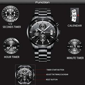 Fashion Chronograph Sport Wristwatches,Casual Business Stainsteel Steel Band Waterproof Watch