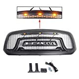 Tuxo 2013 2014 2015 2016 2017 2018 For Upgrade Rebel-Style Ram 1500 Grille Honeycomb Bumper Grill Mesh With Amber Light LED (Not fit Rebel Model)
