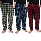 DG Hill 3 Pack Plaid Mens Pajama Pants Set Bottoms Fleece Lounge Sleepwear PJs with Pockets Microfleece